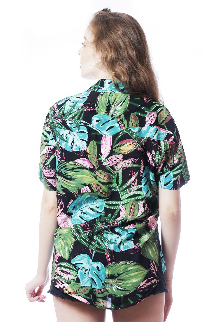 CAMISA TROPICAL ESTAMPADA UNISSEX BOTÂNICA