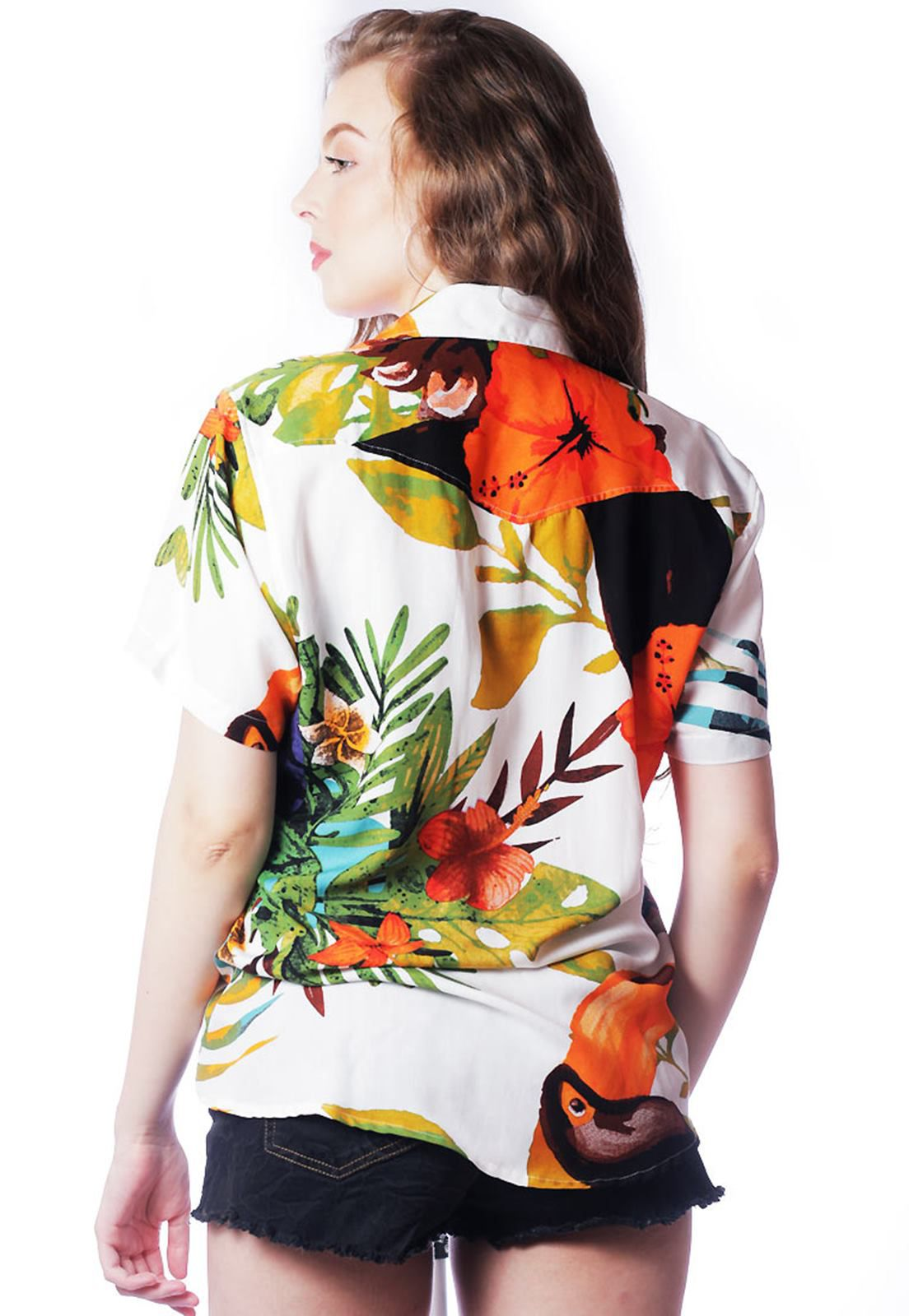 CAMISA TROPICAL ESTAMPADA UNISSEX TUCANOS