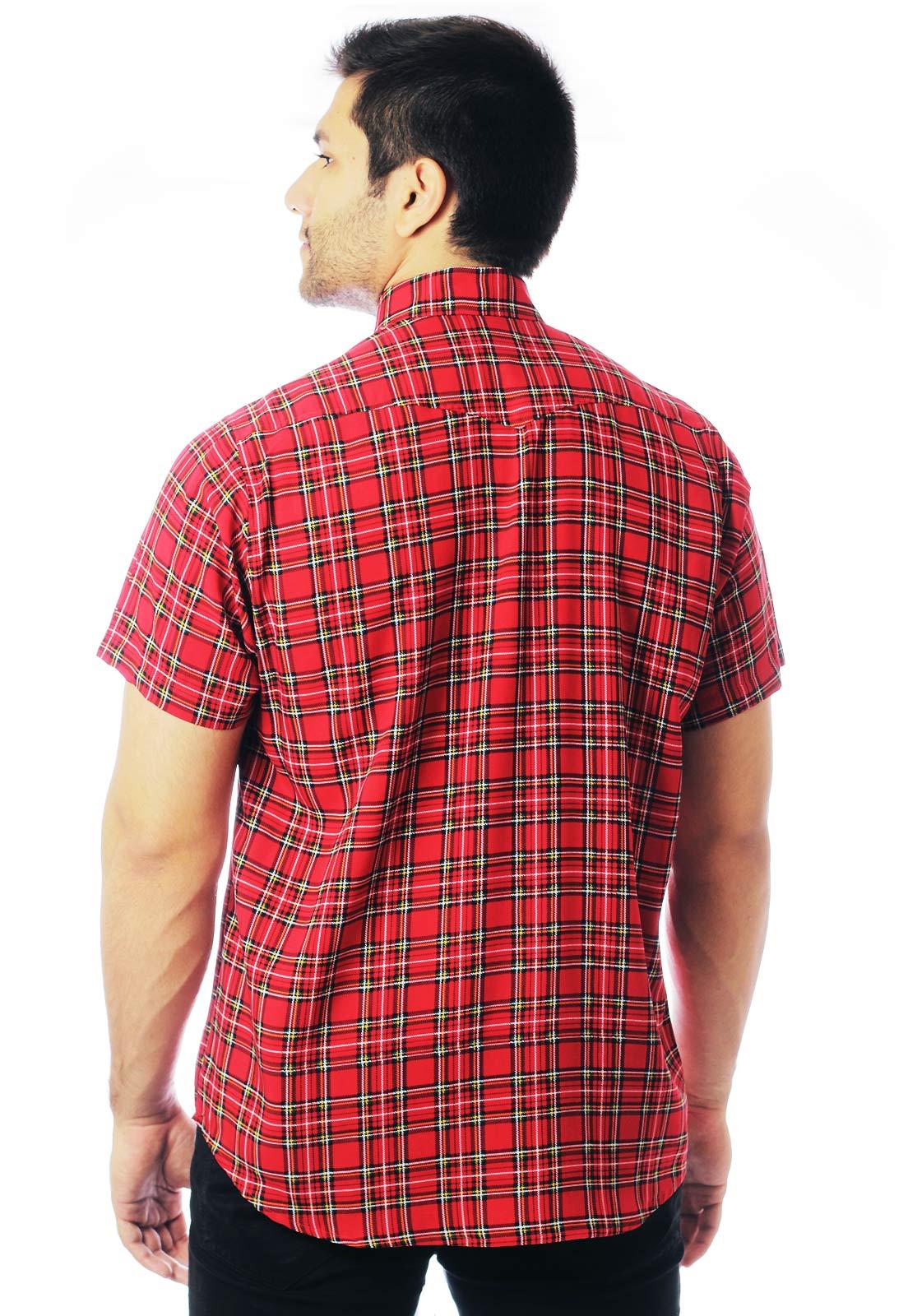 Camisa Xadrez Estampada ElephunK Unissex London Vermelha