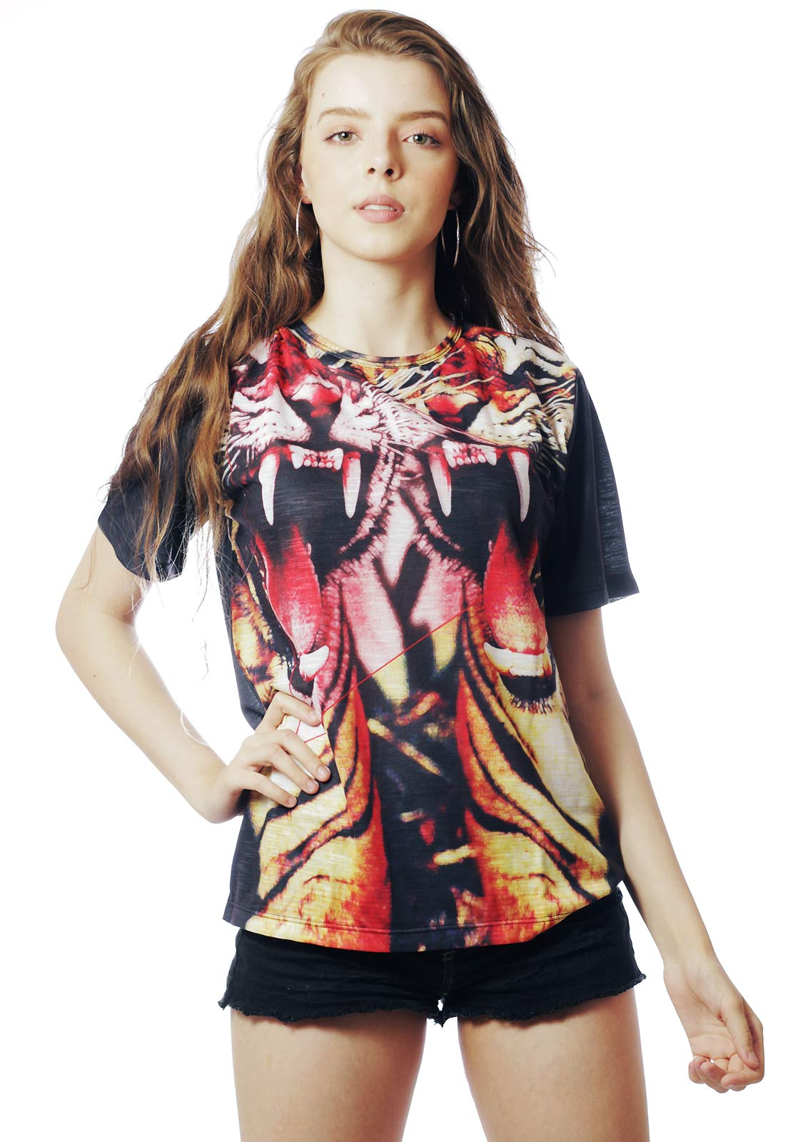 Camiseta Animal Print Estampada Full Print Unissex Tigre Asian Preta BF