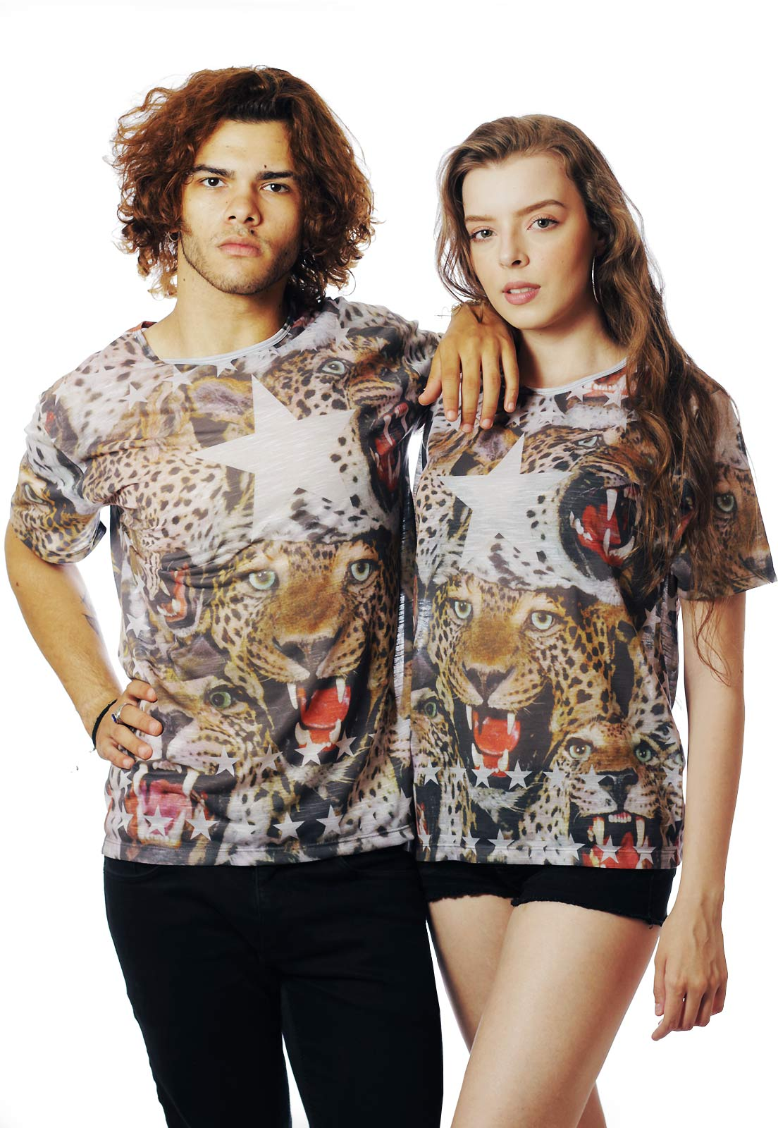 Camiseta Animal Print Oncinha Estampada Full Print Fa$hion Power Marrom BF
