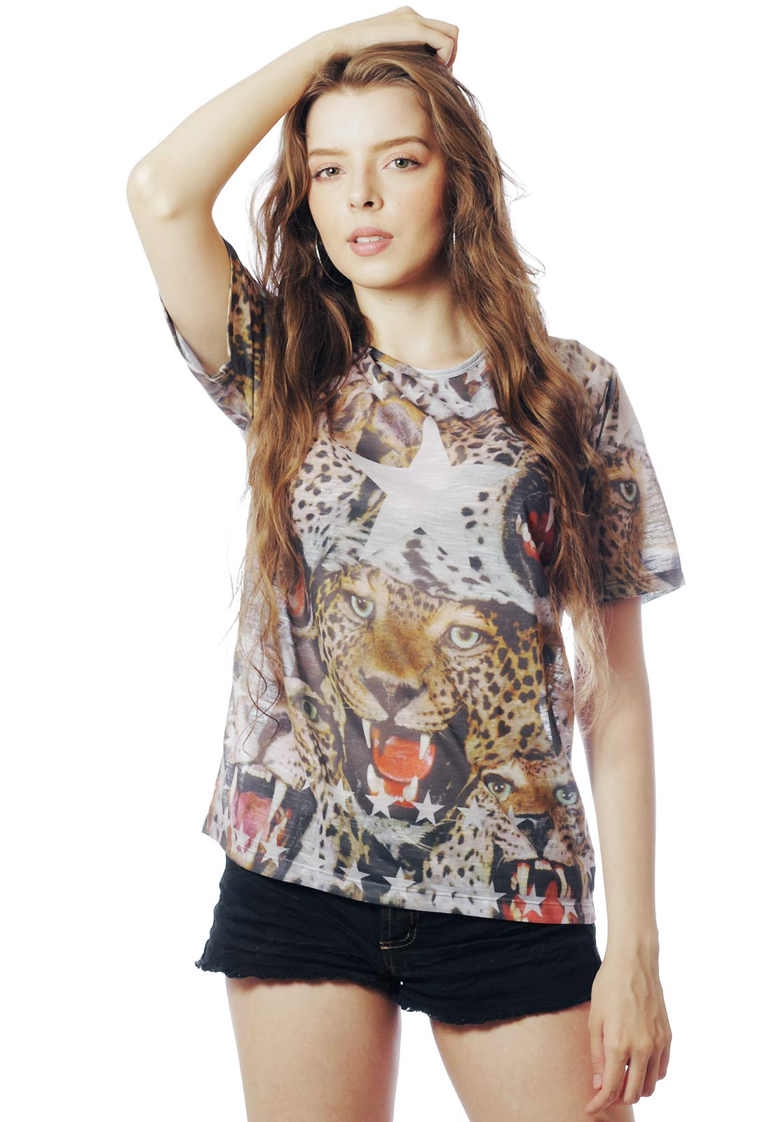 CAMISETA ANIMAL PRINT ONCINHA ESTAMPADA FULL PRINT FA$HION POWER MARROM