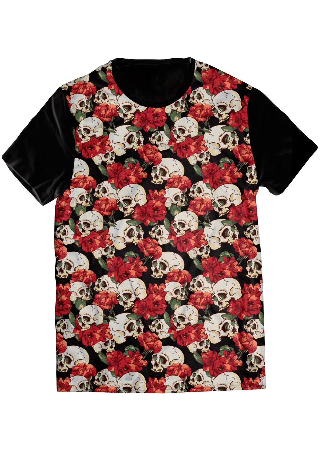 Camiseta Caveira Mexicana Floral Skull Tshirt Swag Camisa