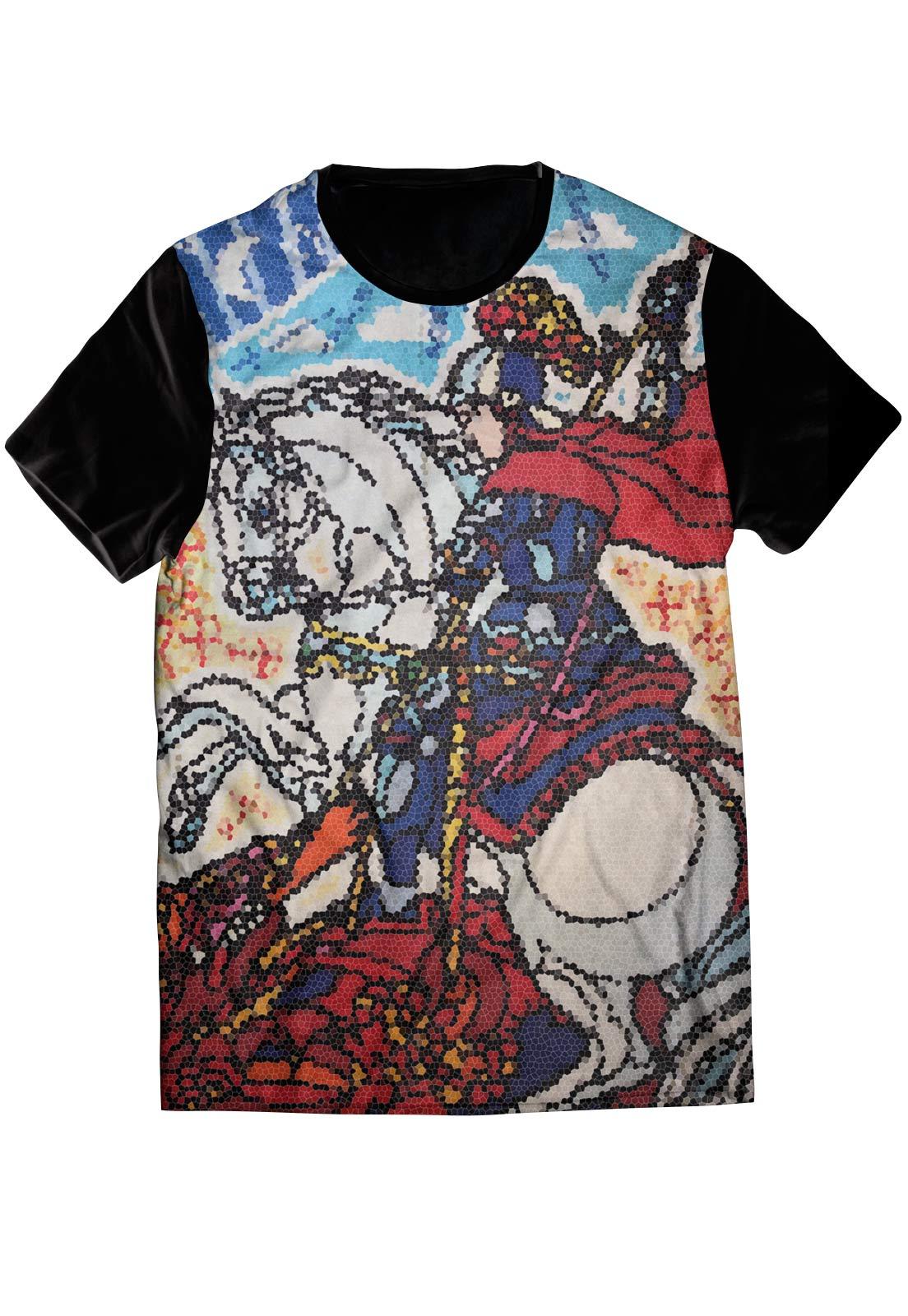 Camiseta ElephunK Estampada São Jorge Ologum Preta