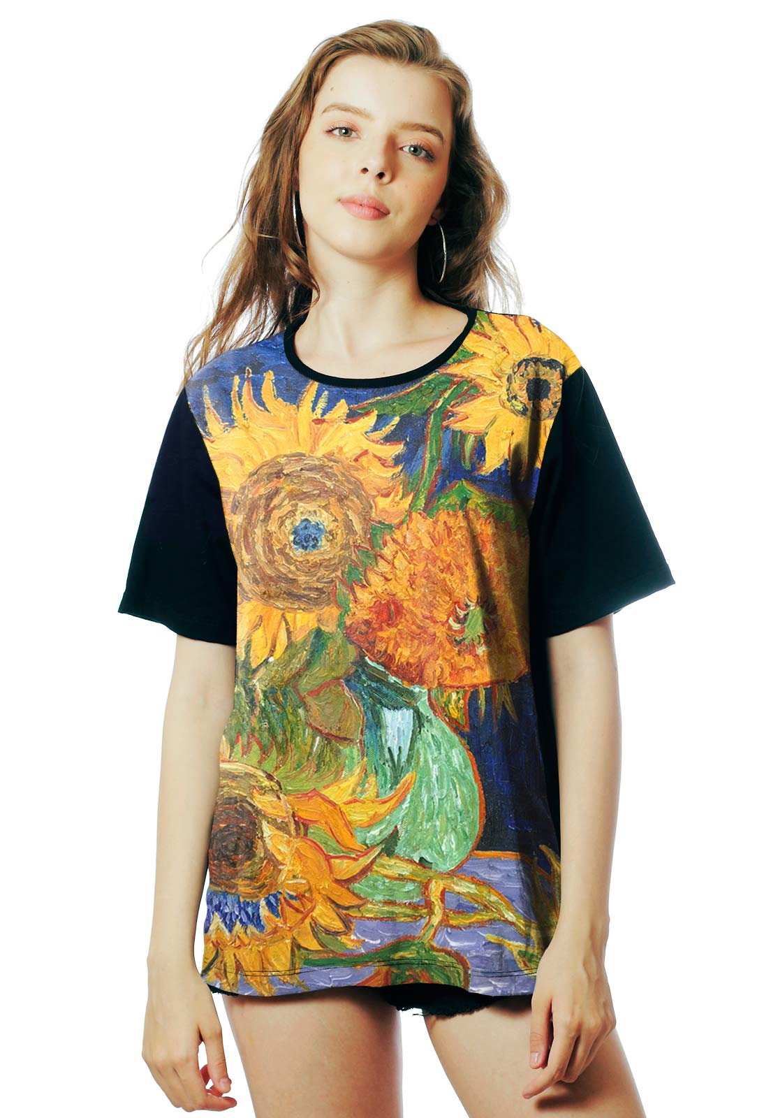 Camiseta ElephunK Estampada Van Gogh Sunflowers Girassóis Preta