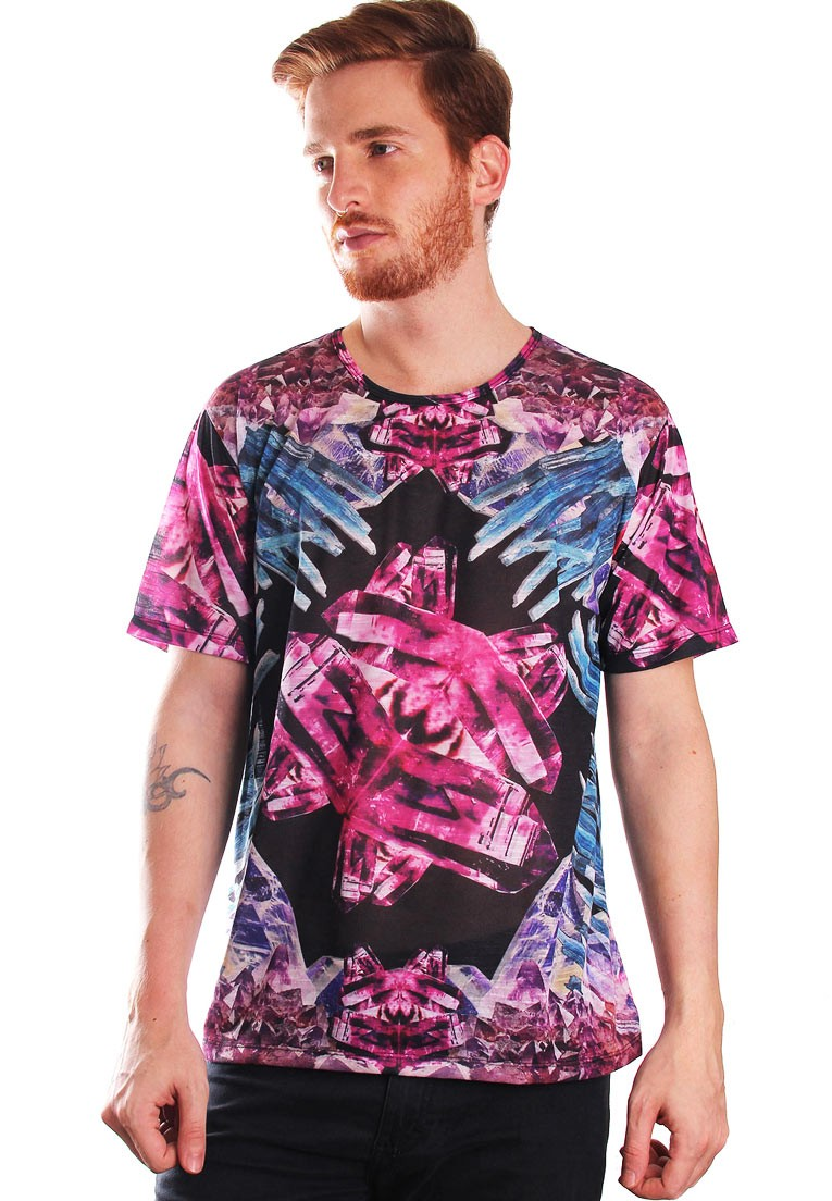 Camiseta Estampada Full Print Unissex Crystal Cristais BF2