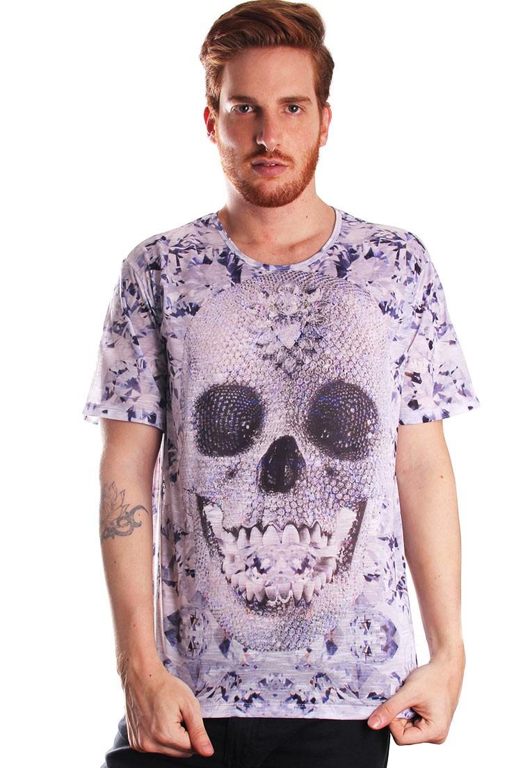 Camiseta Estampada Full Print Unissex Diamondskull Caveira Cristais BF3