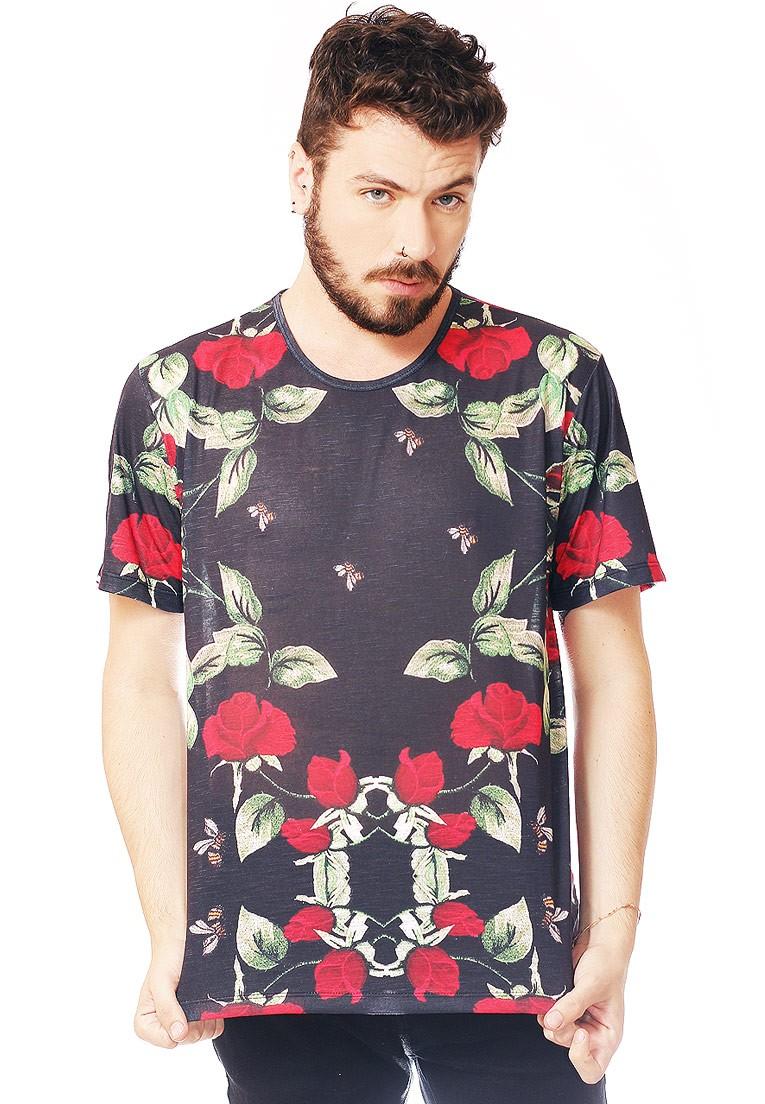 Camiseta Estampada Full Print Unissex Floral Bee BF3