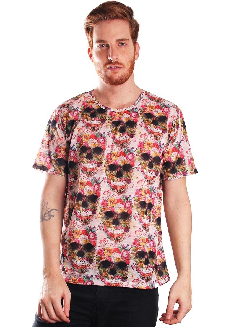 Camiseta Estampada Full Print Unissex Floral Caveira Flowerskull BF2