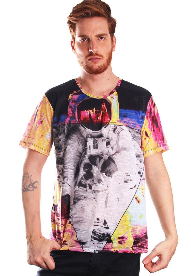 Camiseta Estampada Full Print Unissex Galaxy Spaceman Galaxy BF