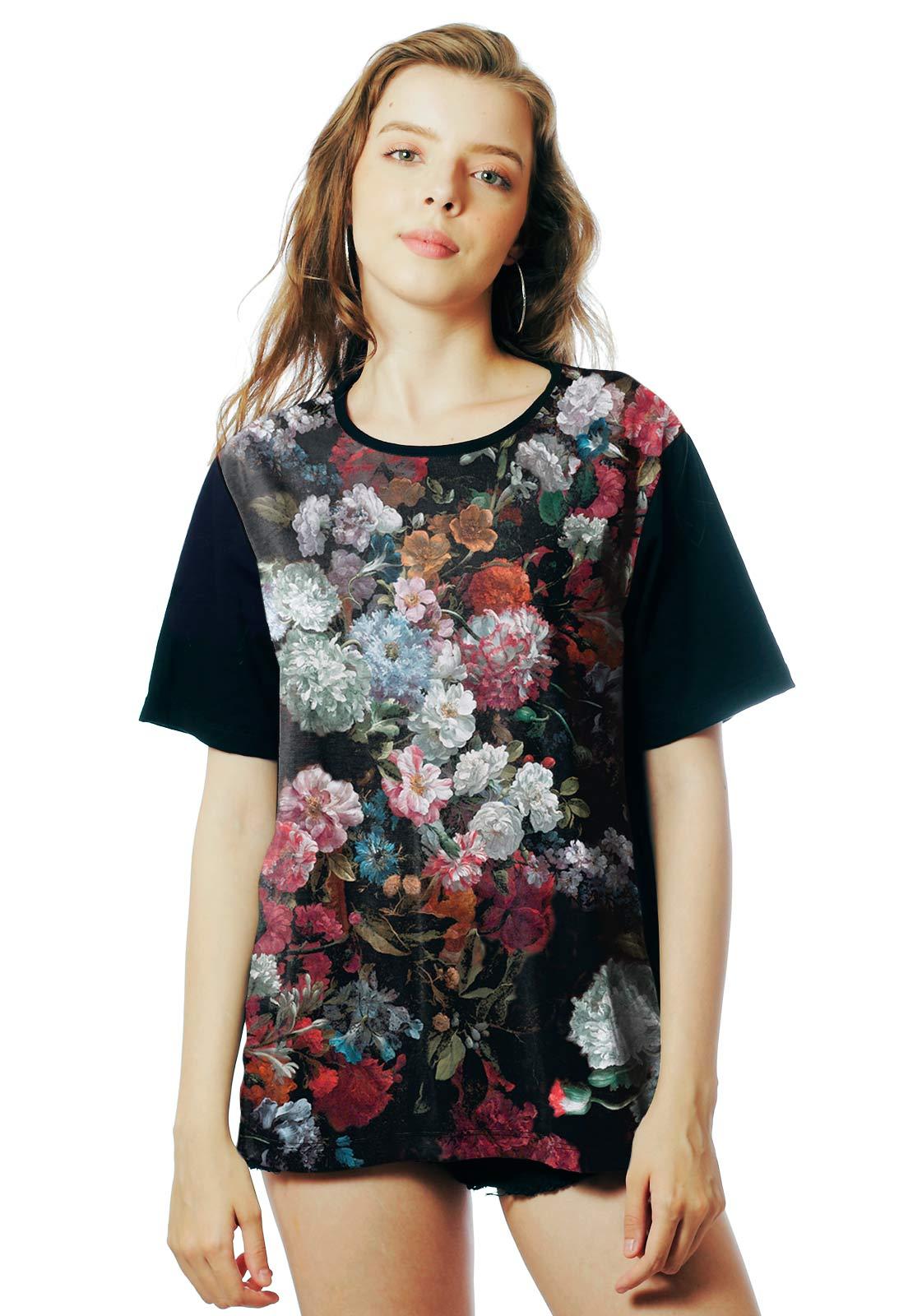 Camiseta Floral ElephunK Estampada Peace Florida Preta