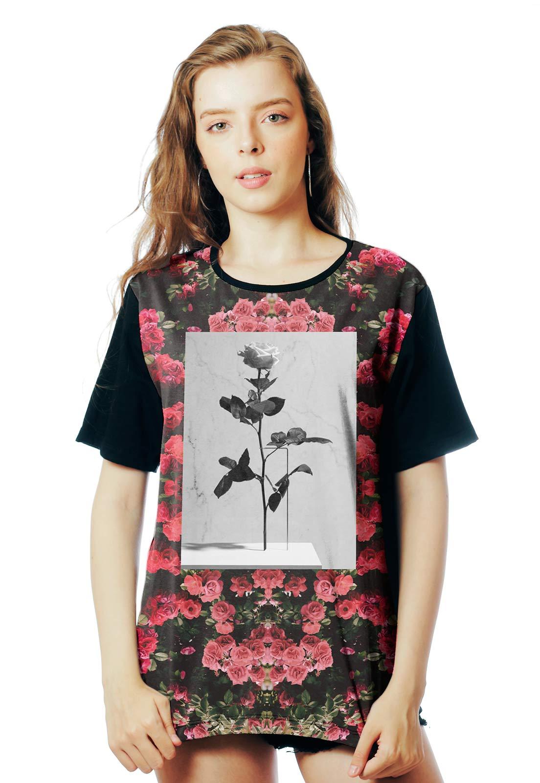Camiseta Floral ElephunK Estampada Violator Florida Preta