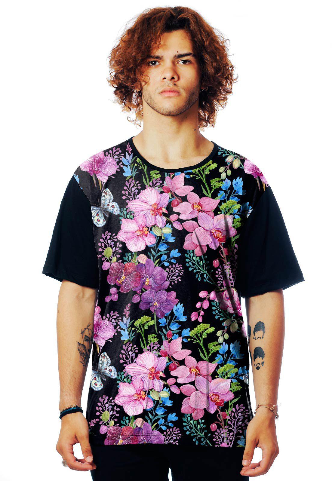 Camiseta Florida ElephunK Estampada Aquarela Floral Escura Preta