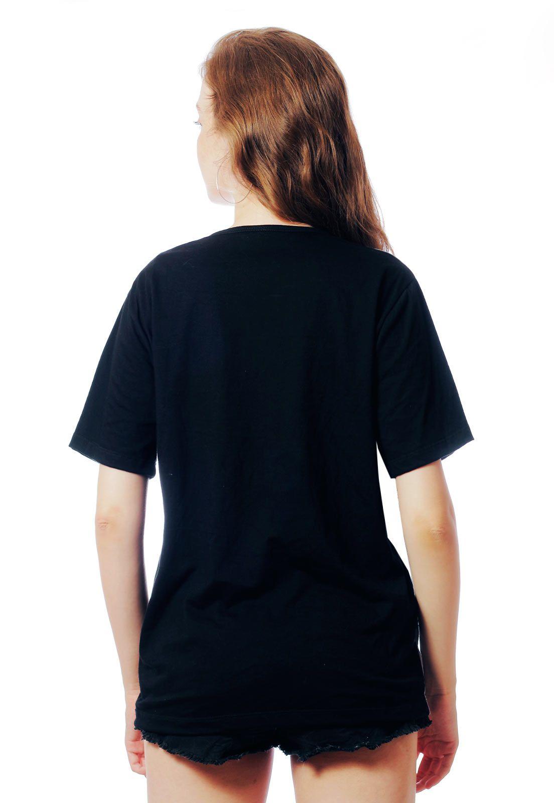 Camiseta Florida ElephunK Estampada Caveira Floral Preta