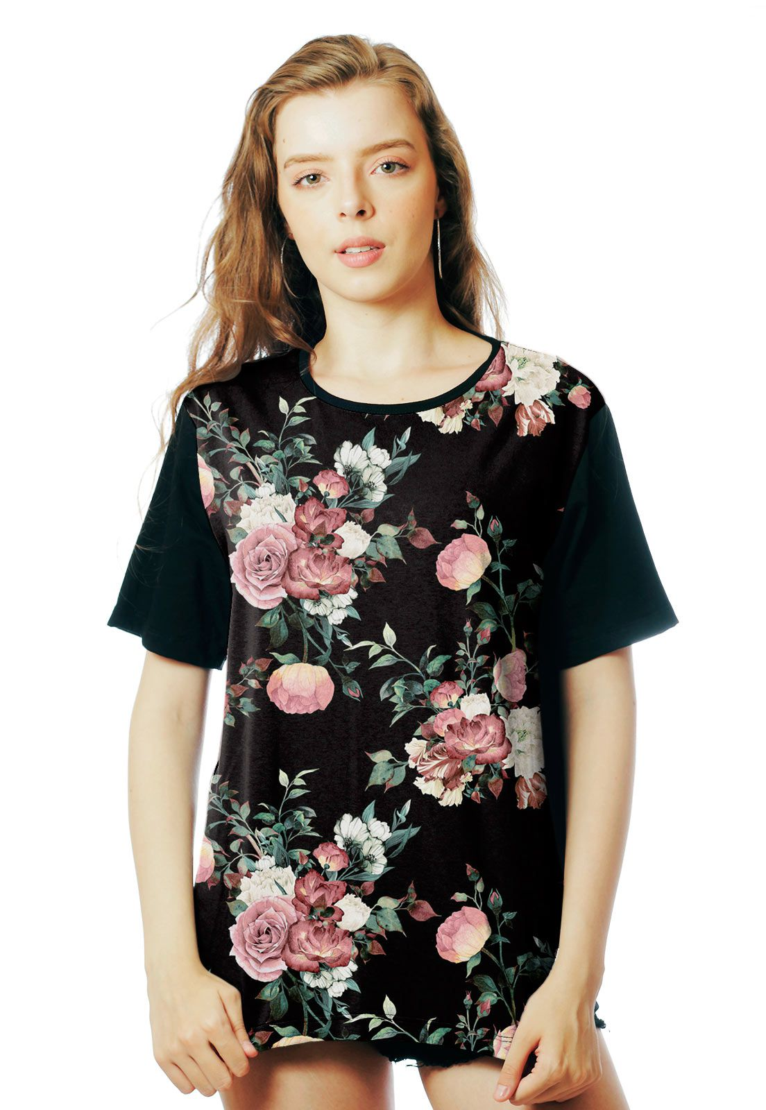Camiseta Florida ElephunK Estampada Roseiral Floral Dark Preta