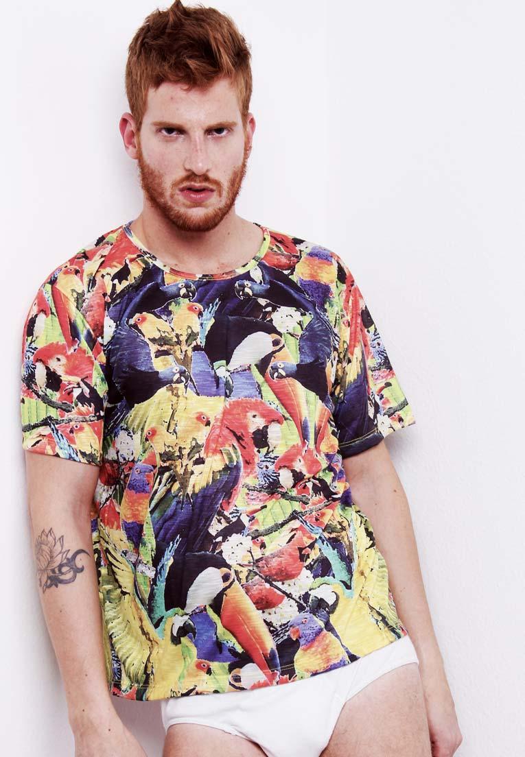 Camiseta Folhagens Estampada Full Print Tucanos Unissex Amazon BF2