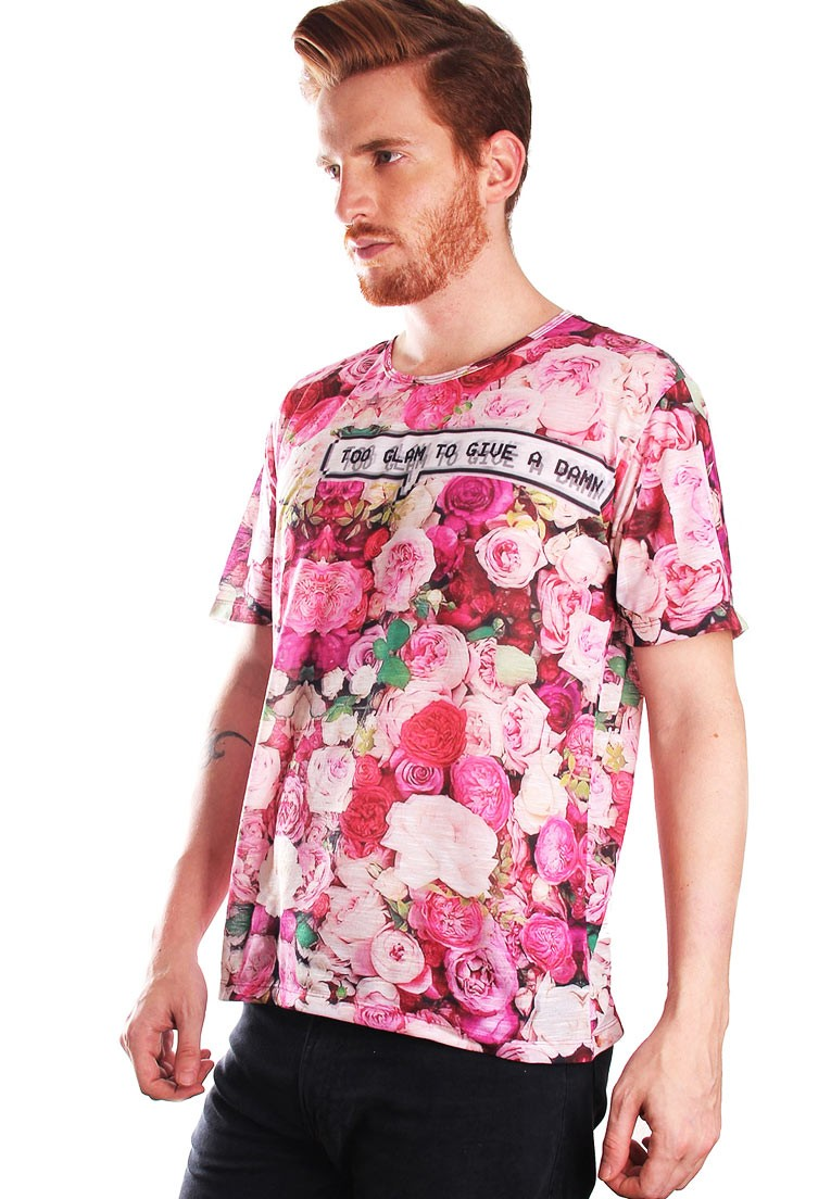 CAMISETA FLORAL ESTAMPADA FULL PRINT UNISSEX TOO GLAM