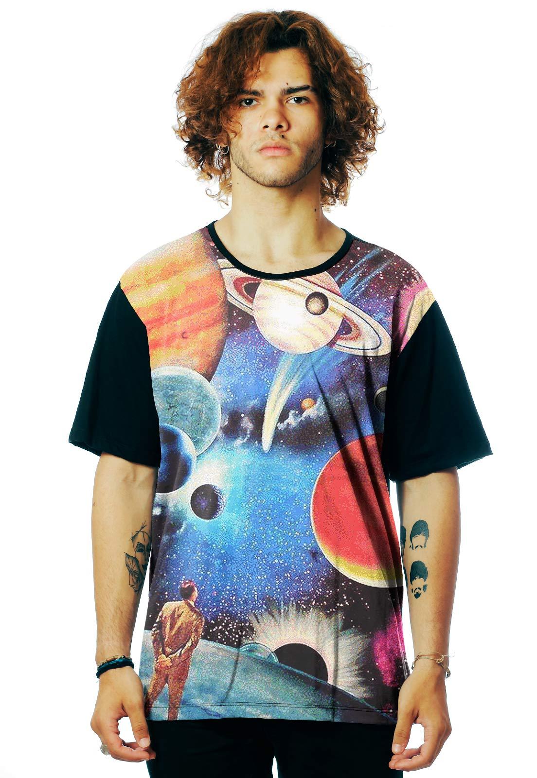 Camiseta Galaxy ElephunK Estampada Interstellar Universo Preta