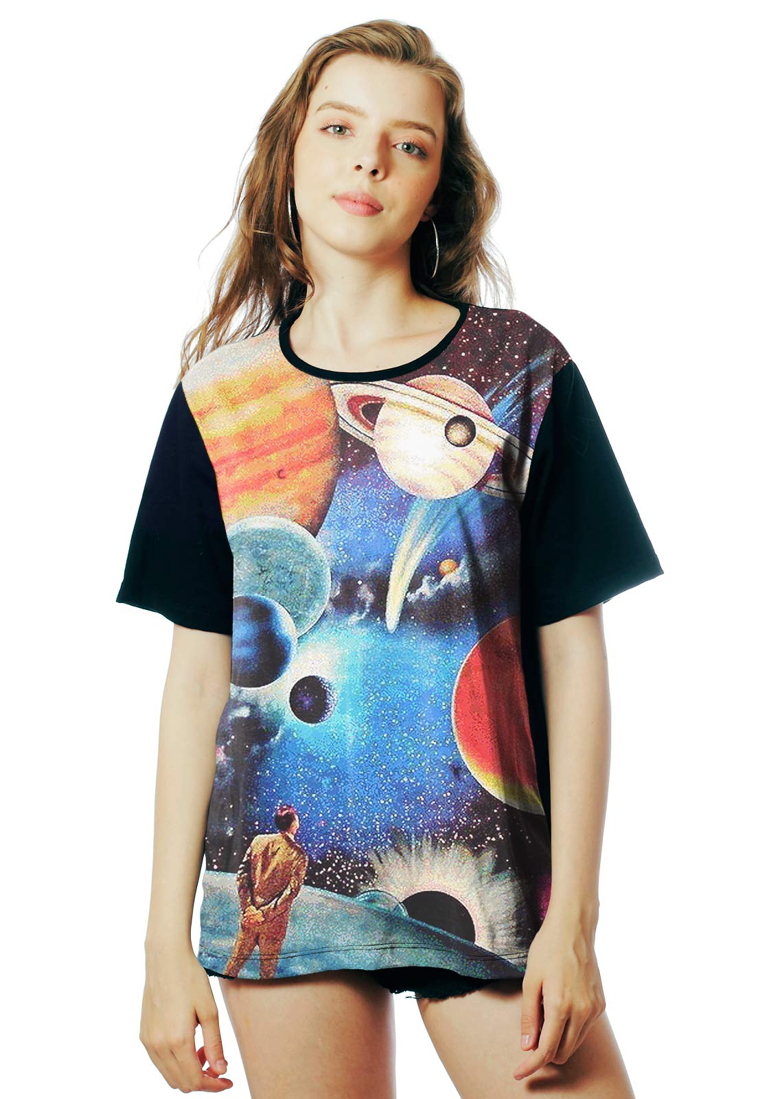 Camiseta Galaxy ElephunK Estampada Interstellar Universo Preta
