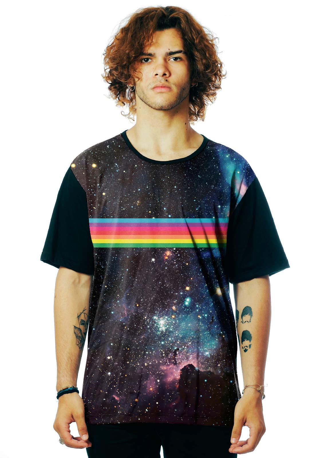 Camiseta Galaxy ElephunK Estampada RainBow Arco-íris Preta