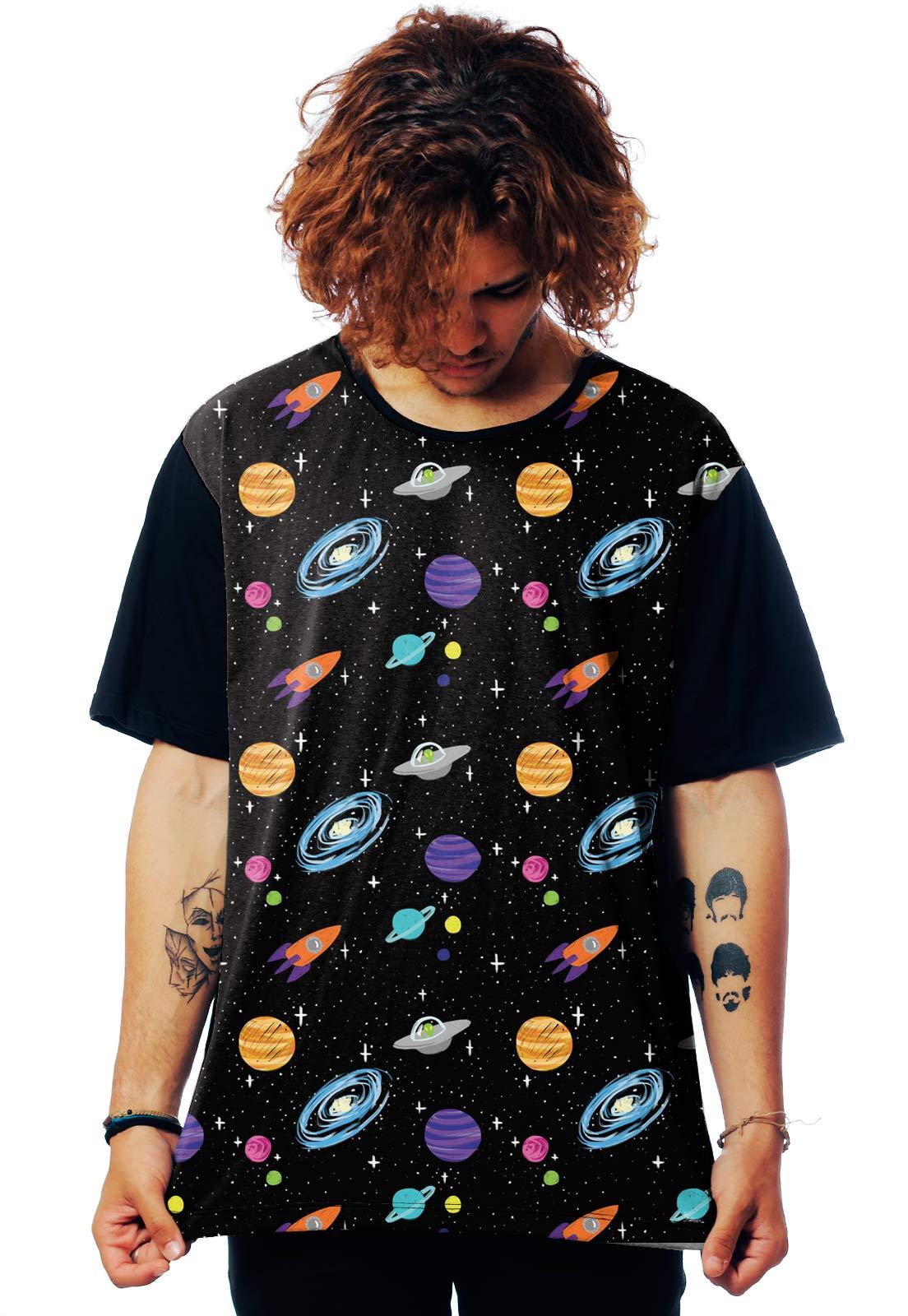 Camiseta Galaxy ElephunK Estampada Universal Universo Preta