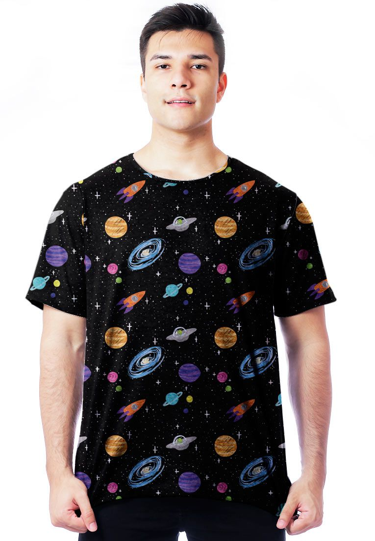 CAMISETA GALAXY ESTAMPADA FULL PRINT UNISSEX UNIVERSAL TUMBLR