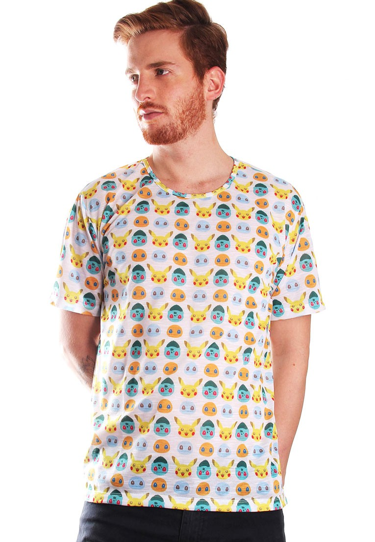 Camiseta Pokémon Estampada Full Print Unissex Pocket-fun BF2