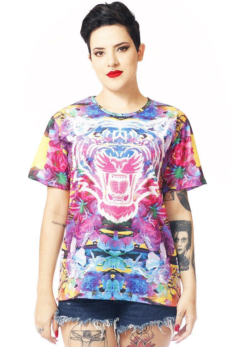 CAMISETA ESTAMPADA FULL PRINT UNISSEX NEON TIGER