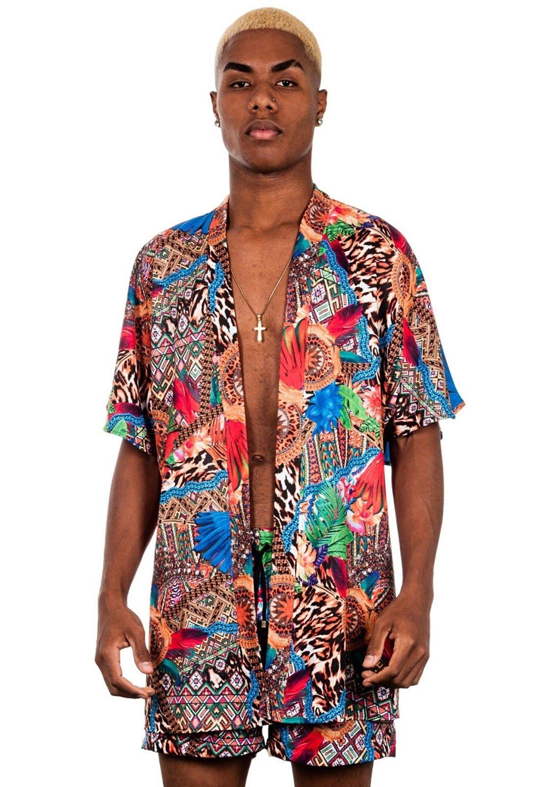 Cardigan Kimono Estampado Animal Print ElephunK Multicultural Laranja