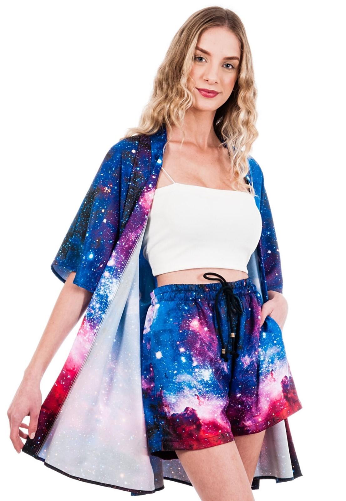 Cardigan Kimono Estampado Galaxy ElephunK Espaço Universo Azul