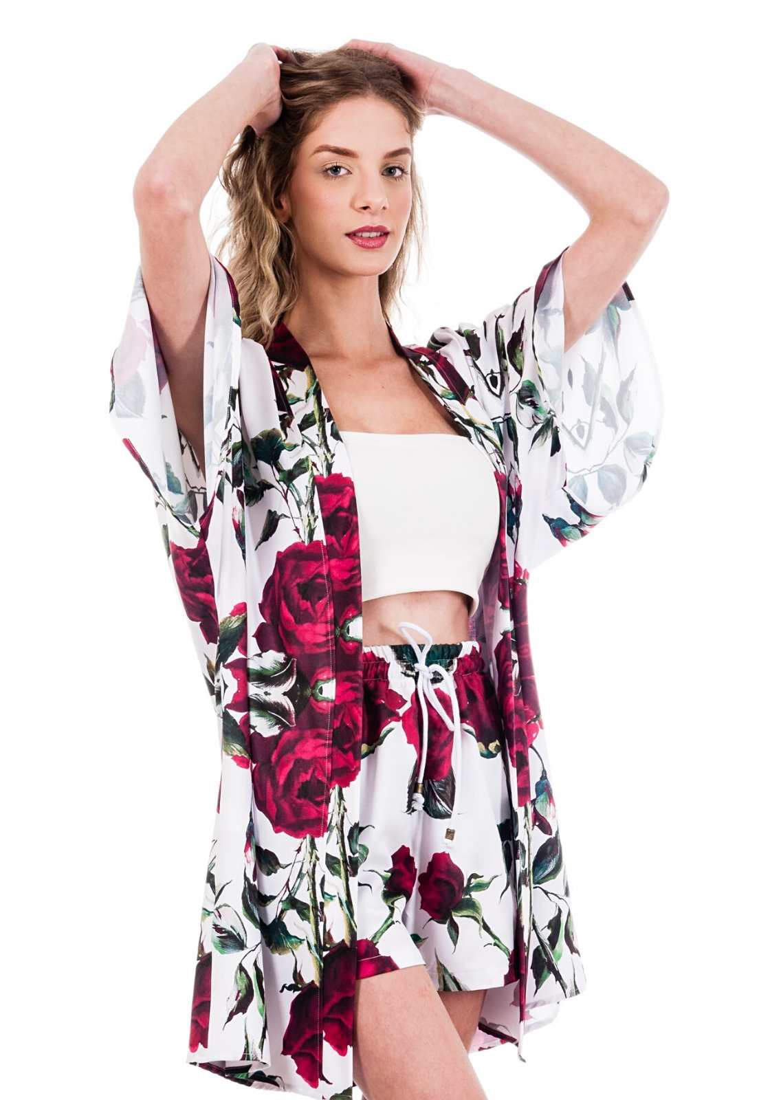 Cardigan Kimono Floral Estampado ElephunK Haus Glam Rosas Branco