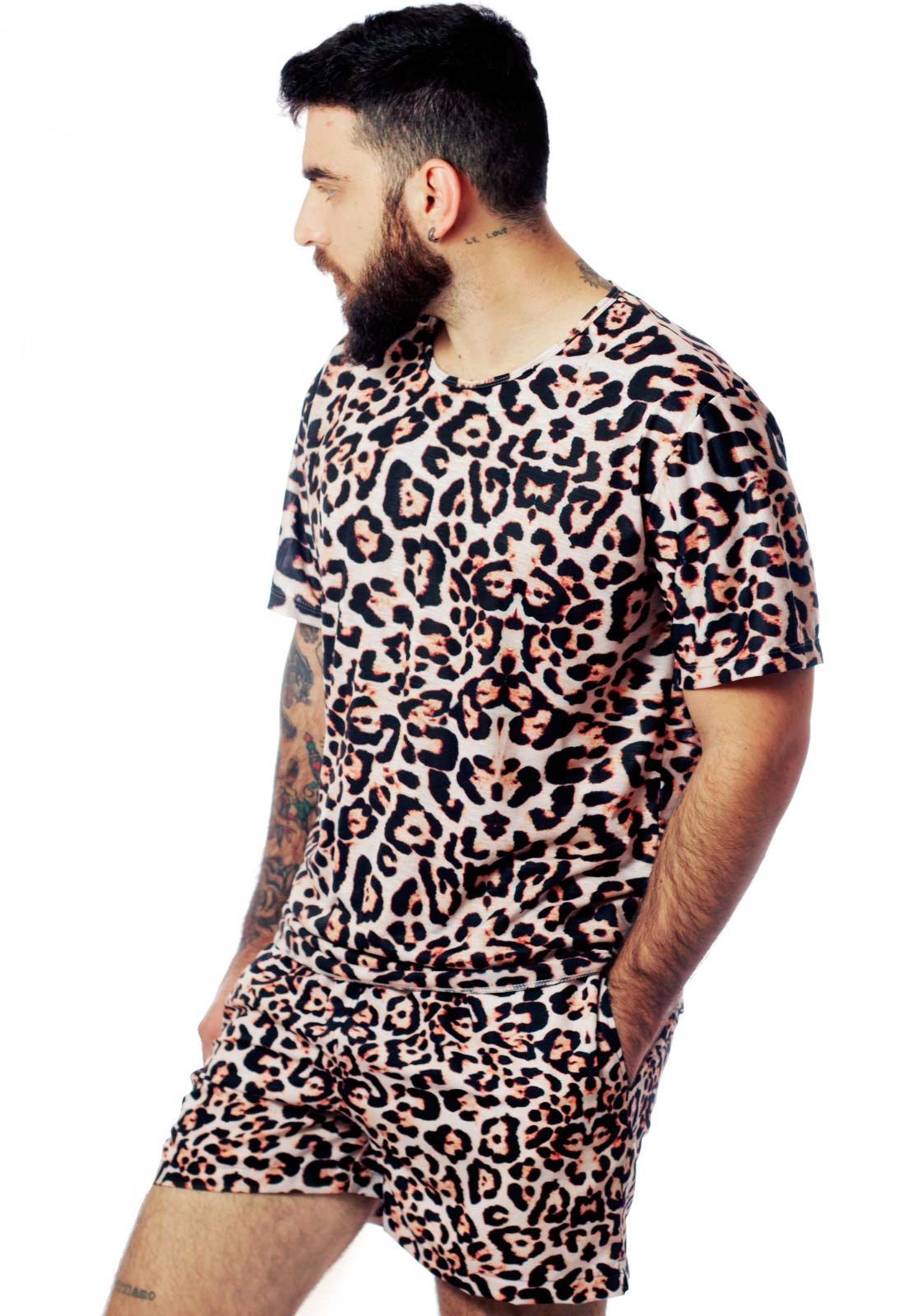 Conjunto Estampado Animal Print Camiseta + Shorts Unissex Guepardo