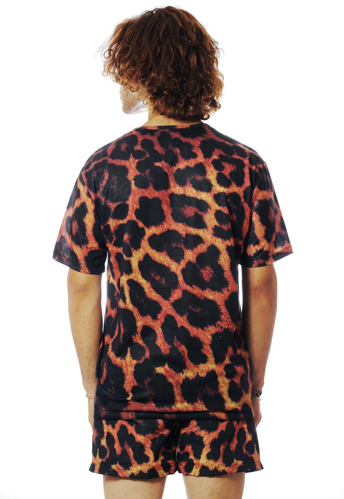 Conjunto Estampado Camiseta + Shorts Unissex Oncinha