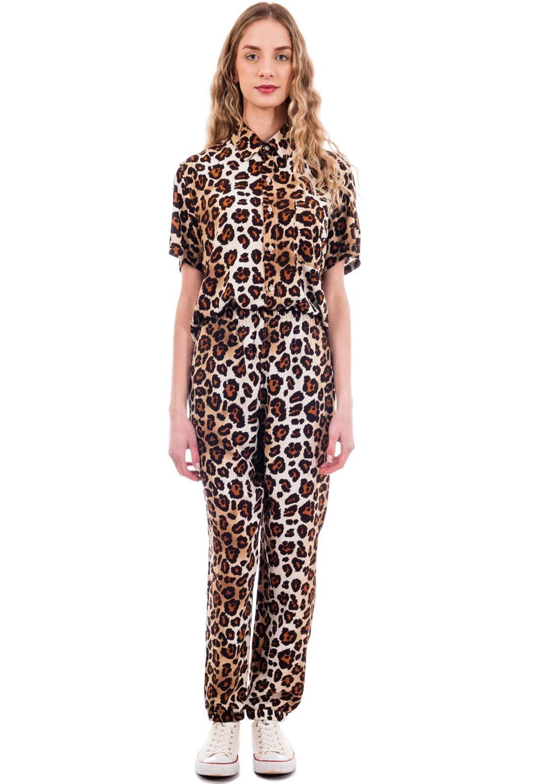 Conjunto Estampado Oncinha Animal Print Camisa + Calça Classic