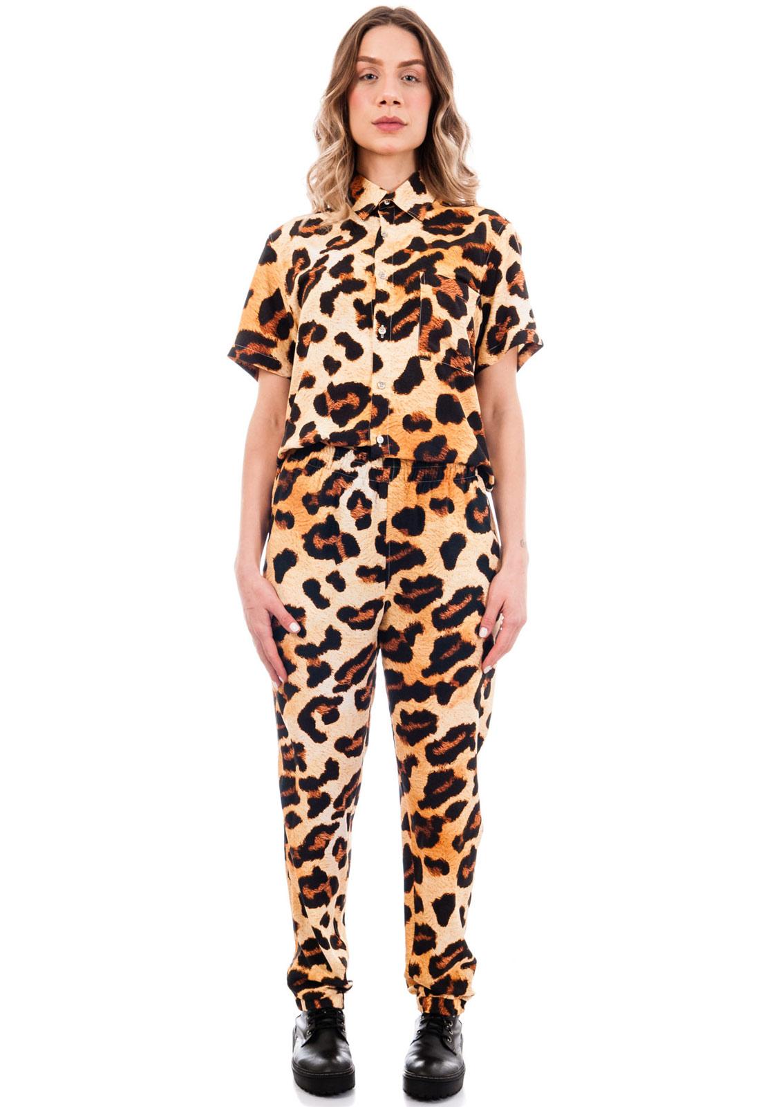 Conjunto Estampado Oncinha Animal Print Camisa + Calça Power