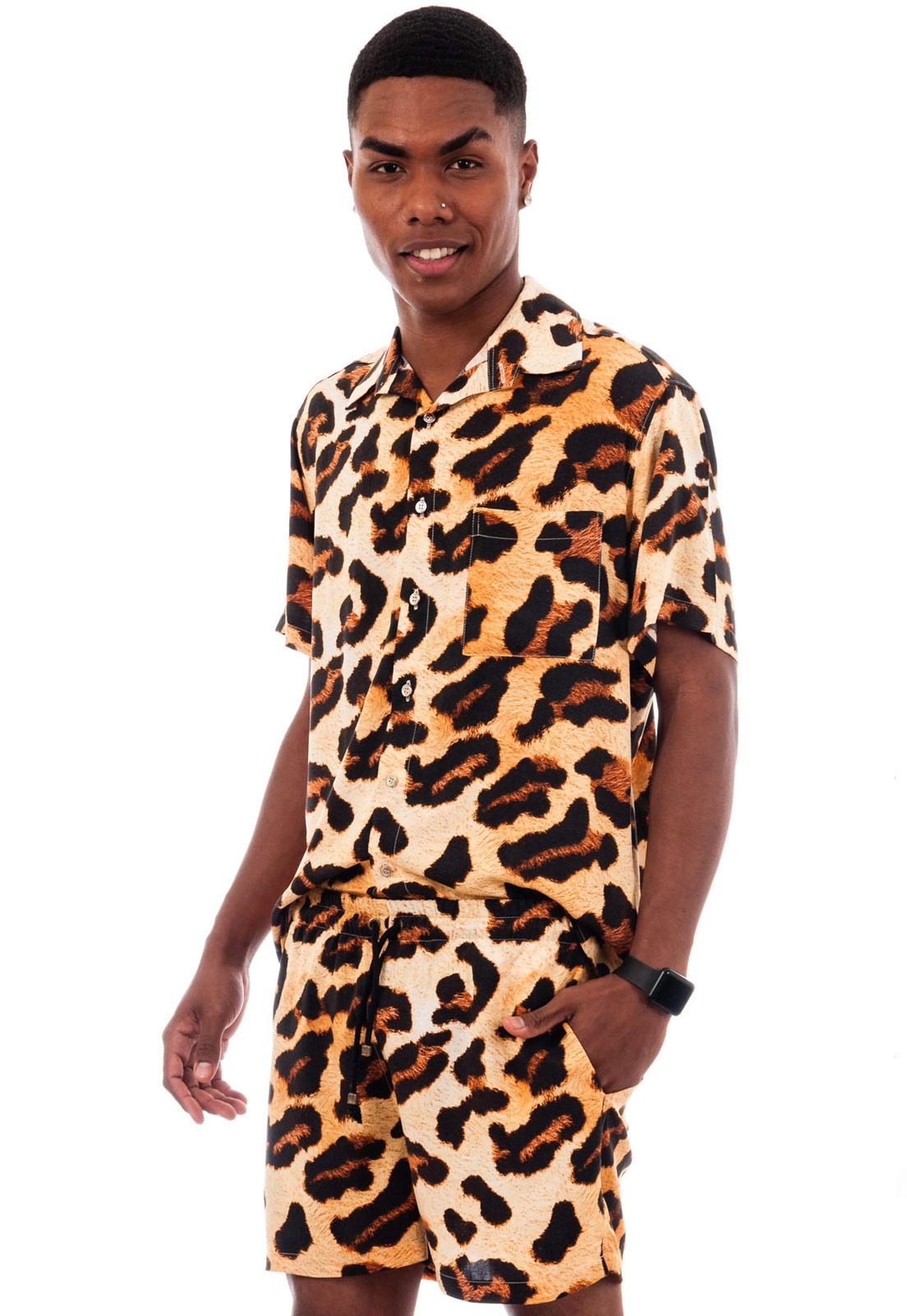 Conjunto Estampado Oncinha Animal Print Camisa + Shorts Power