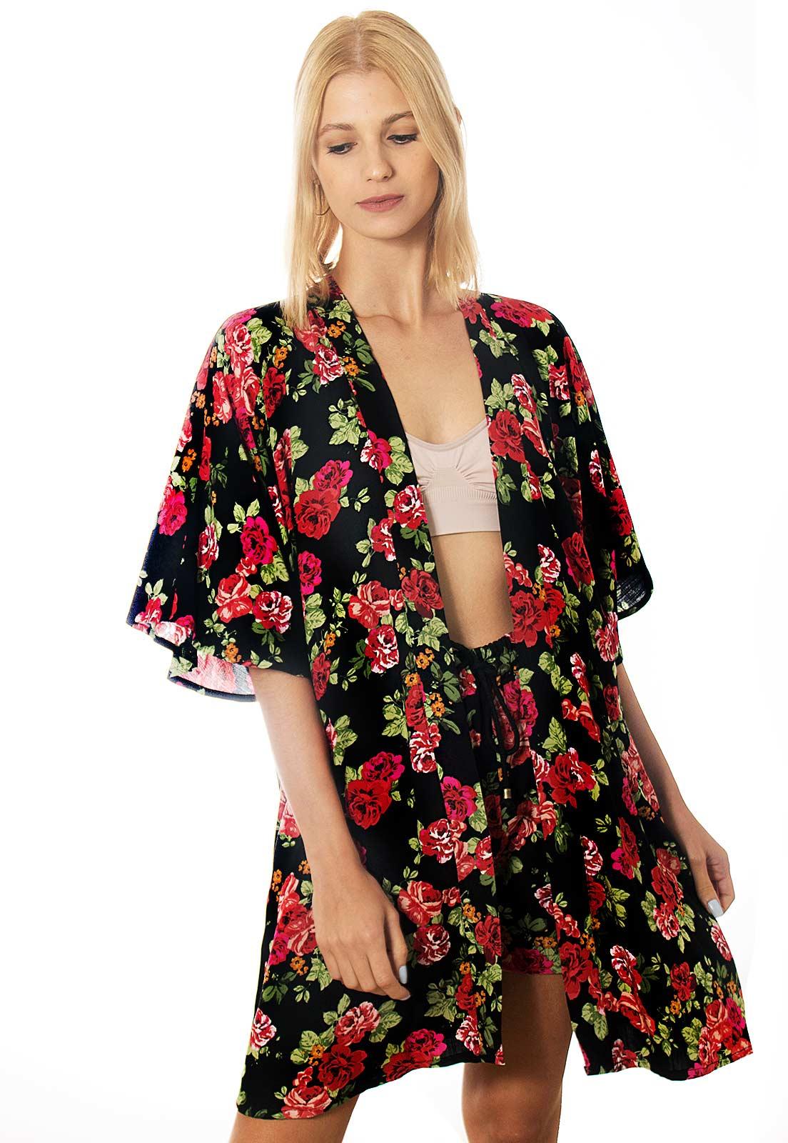 Conjunto Kimono + Shorts Floral Escuro Estampado ElephunK Portland Feminino Masculino Moda Vermelho