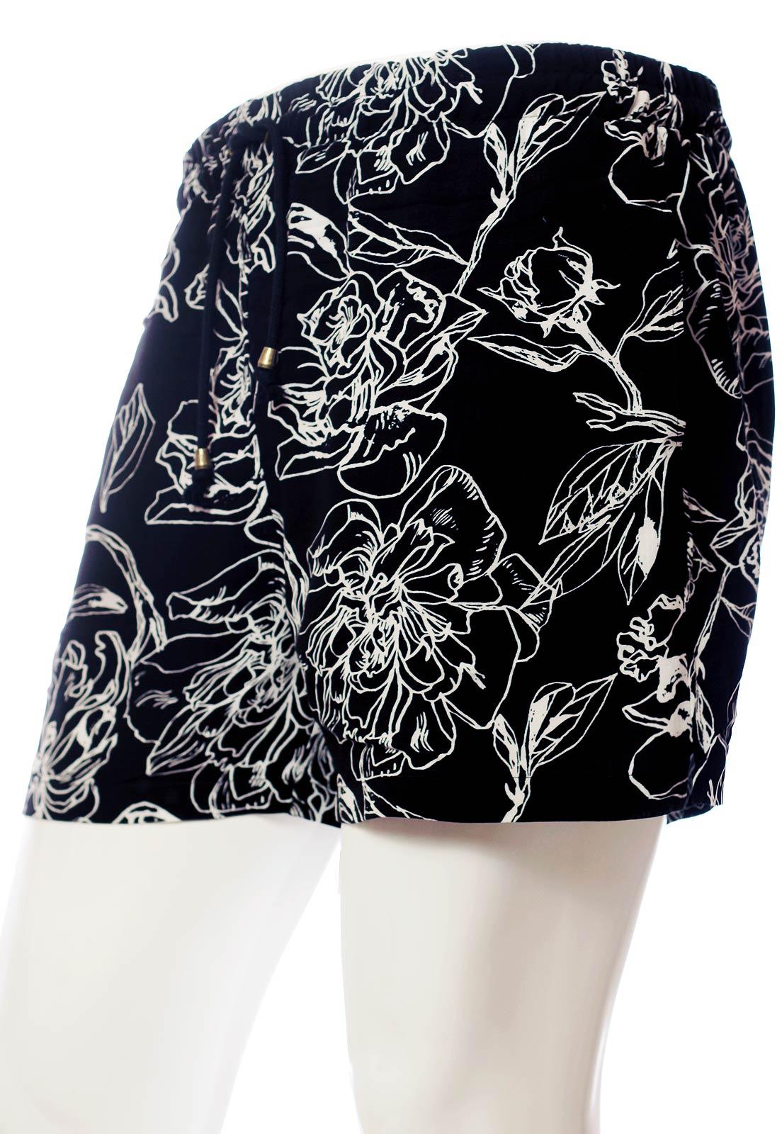 Conjunto Kimono + Shorts Floral Estampado ElephunK Grace Feminino Masculino Moda Preto