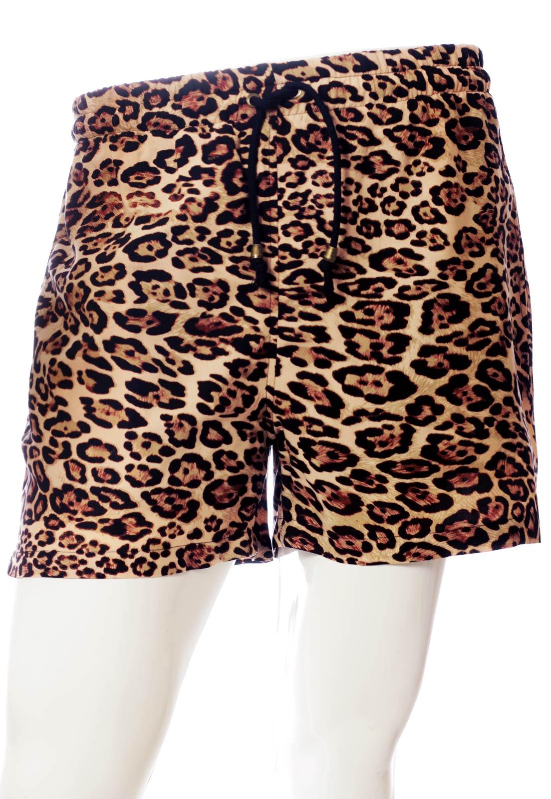 Conjunto Kimono + Shorts Oncinha Estampado ElephunK Animal Print Feminino Masculino Moda Marrom