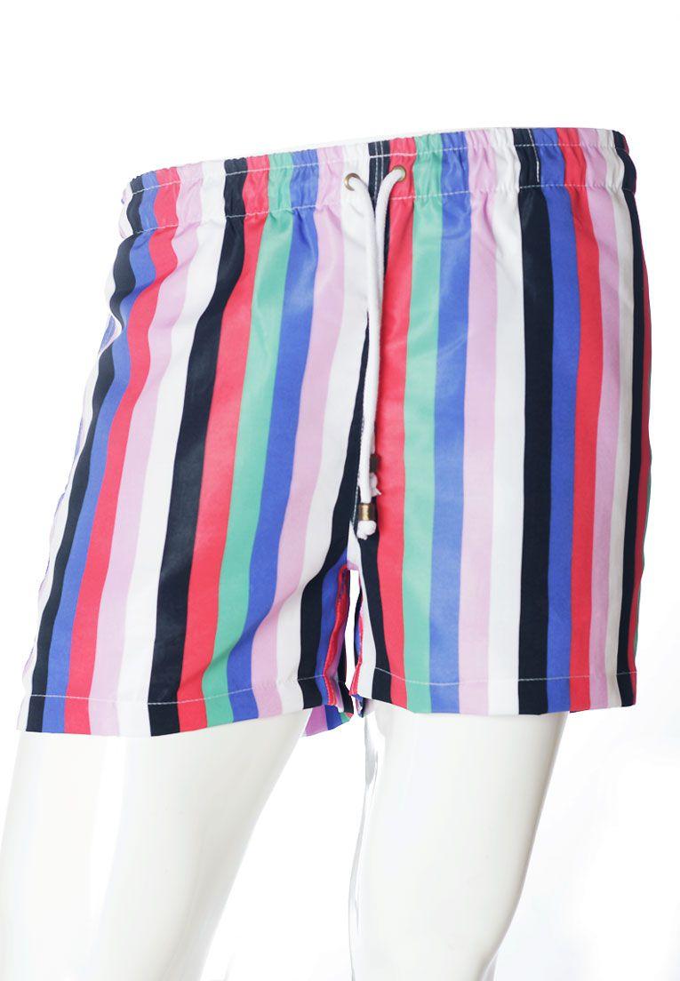 Conjunto Listrado Estampado Camiseta + Shorts Unissex Palmitas