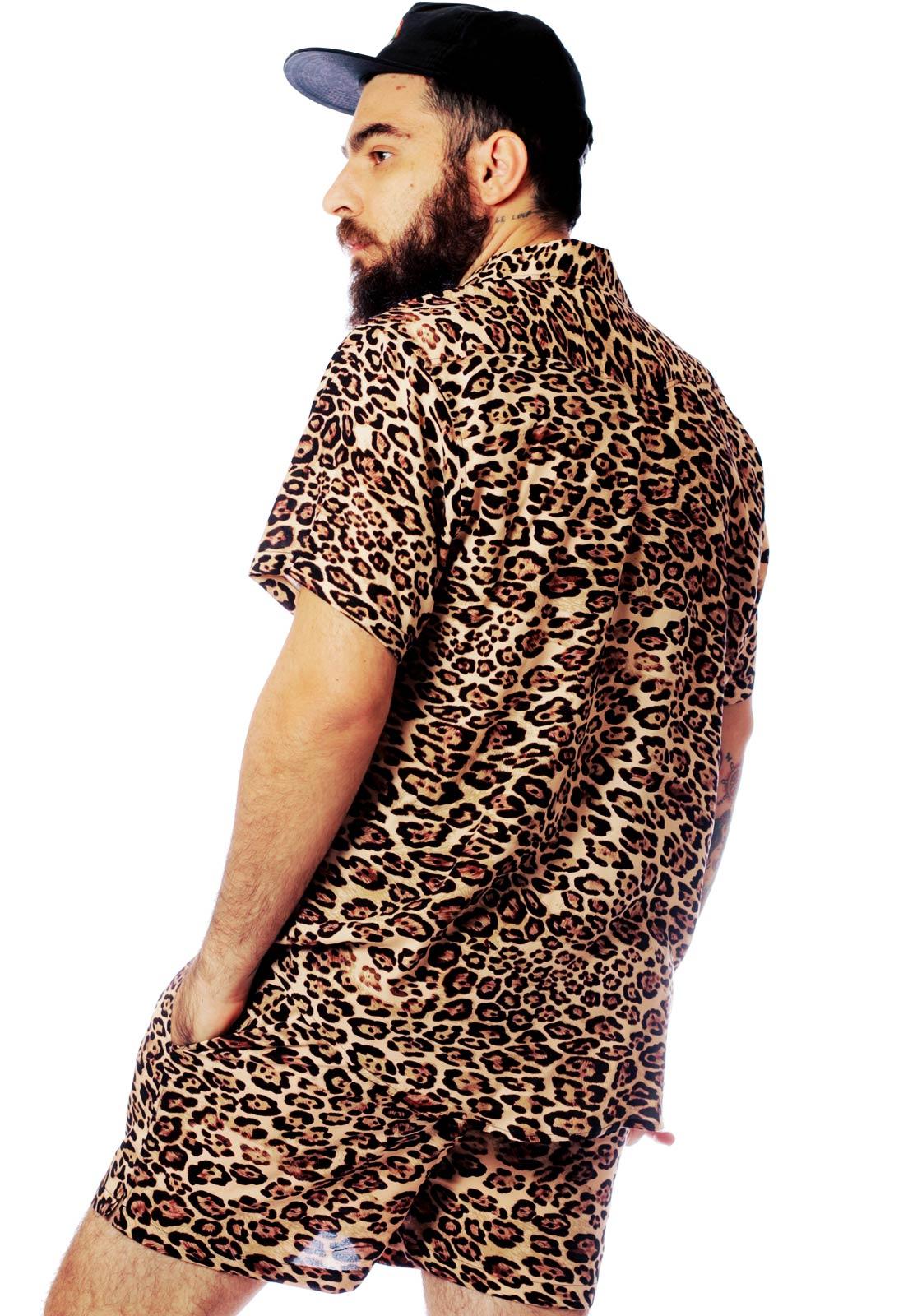 Conjunto Oncinha Estampado Animal Print Camisa + Shorts Unissex Onça