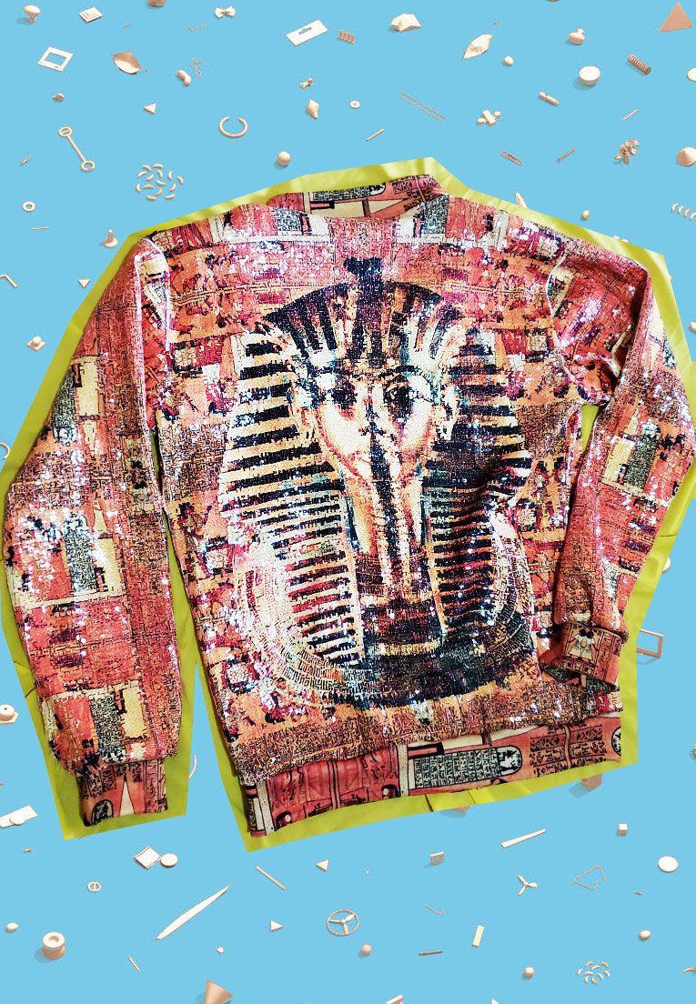 JAQUETA BOMBER DE PAETÊ ESTAMPADA UNISSEX EGYPT - PREMIUM