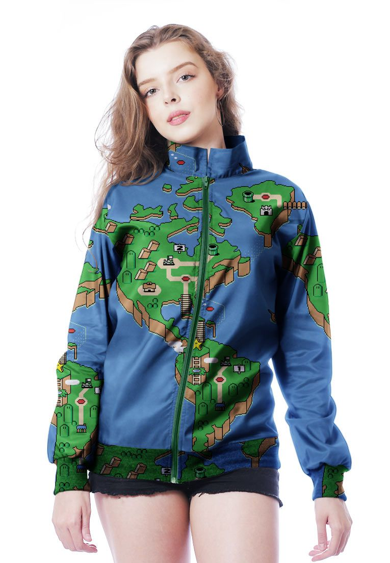 JAQUETA BOMBER ESTAMPADA FULL PRINT UNISSEX PERFECT WORLD