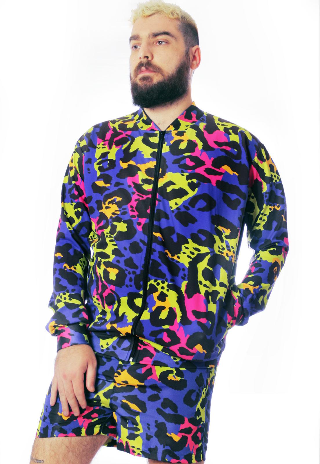 Jaqueta Bomber Neon Estampada ElephunK Animal Print Onça Roxa