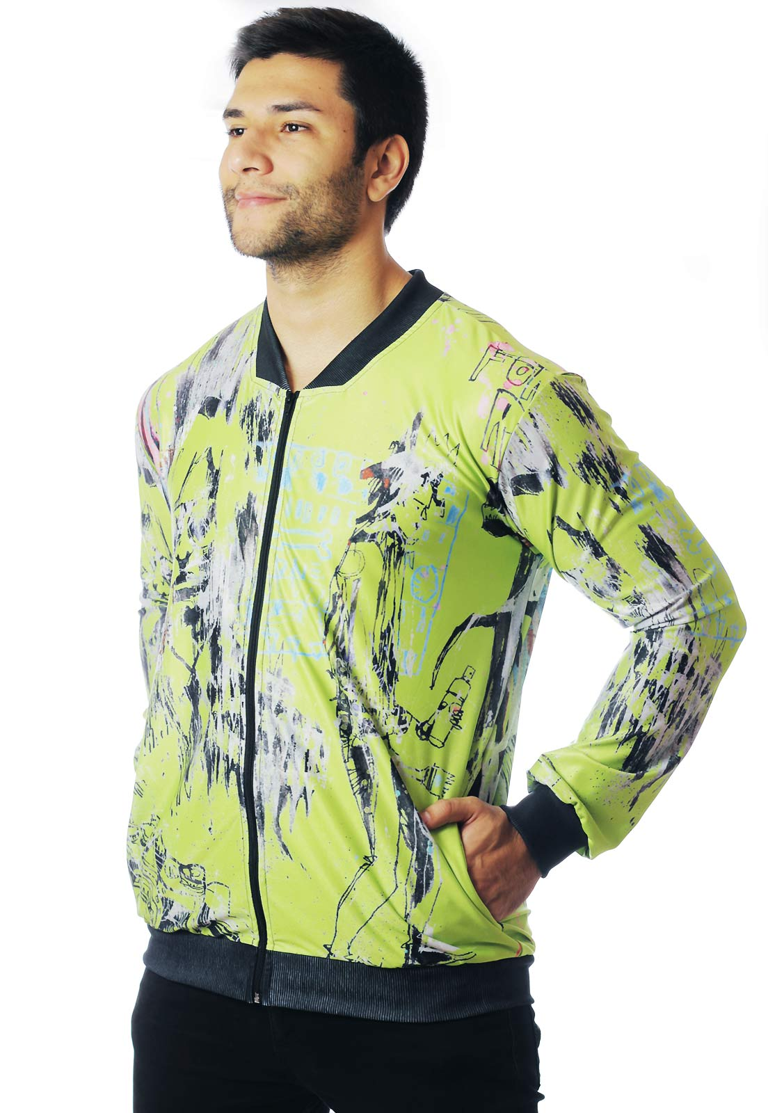 JAQUETA BOMBER NEON ESTAMPADA FULL PRINT UNISSEX NEW YORK 01