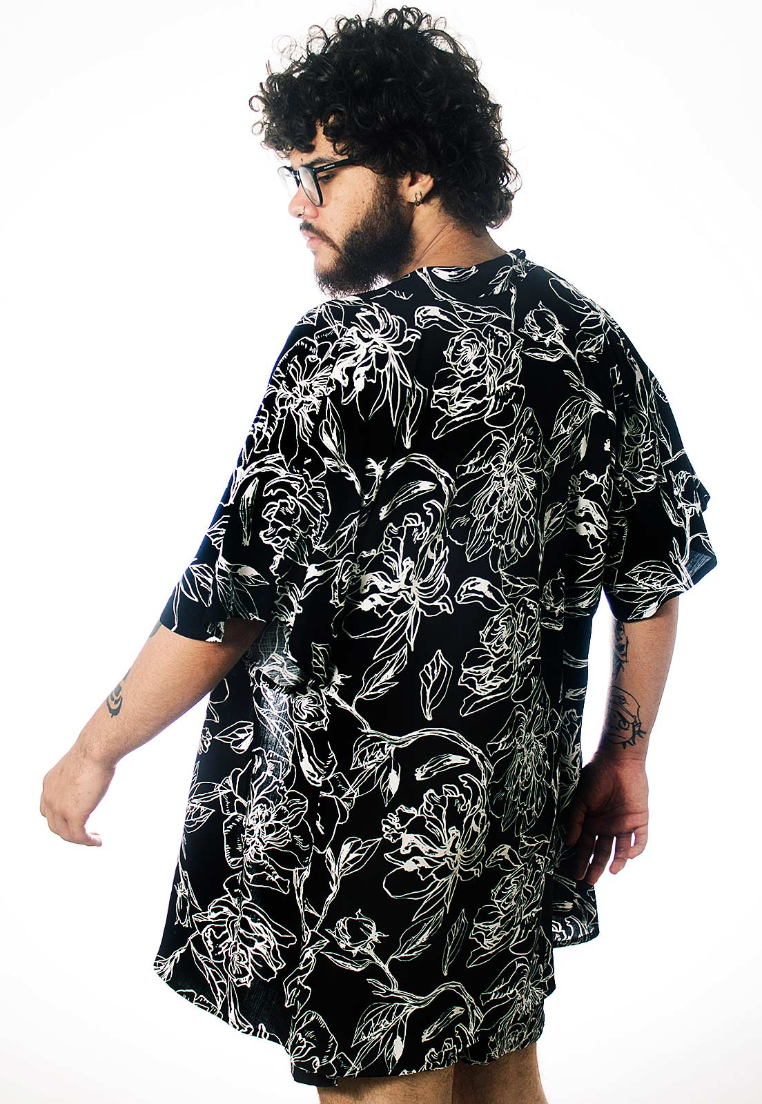 Cardigan Kimono Floral Estampado ElephunK Grace Feminino Masculino Moda Preto