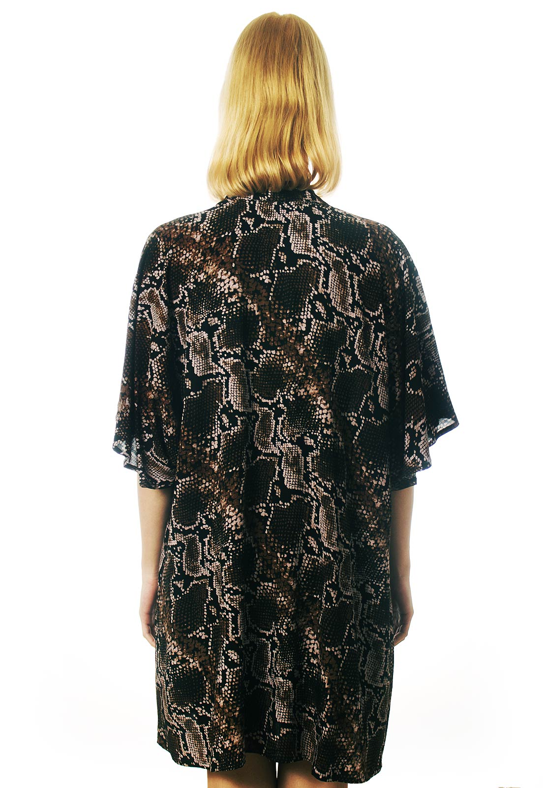 Cardigan Kimono Kobra Cobra Estampado ElephunK Animal Print Feminino Masculino Moda Marrom