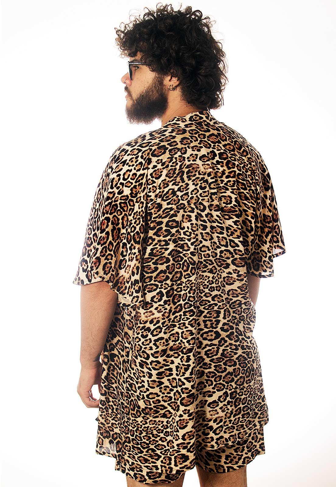 Cardigan Kimono Oncinha Estampado ElephunK Animal Print Feminino Masculino Moda Marrom