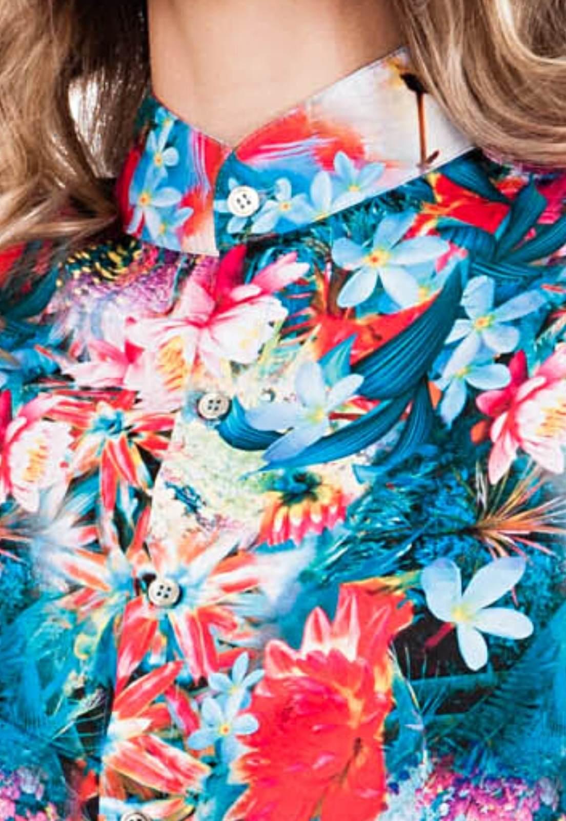 Macaquinho Floral Estampado Garden Of Eden Sem Gênero ElephunK Azul