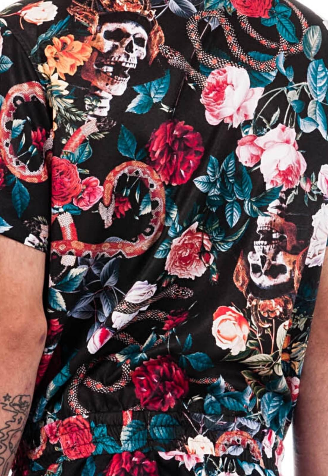 Macaquinho Floral Estampado Sem Gênero ElephunK Caveira Cobras Preto